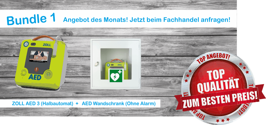 Bundle 1 Zoll AED 3 Halbautomat + Wandschrank